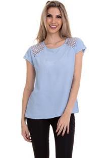 Blusa Crepe Renda No Ombro Feminina - Feminino-Azul