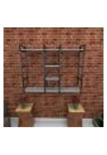 Estante Estilo Industrial Sala Aço Cor Preto 120X30X98Cm (C)X(L)X(A) Cor Mdf Cinza Modelo Ind47Csl