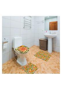 Jogo De Banheiro Floral Colorido Único