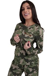 Pijama Thais Gusmão Longo Feminino Com Corda Militar Verde - Kanui
