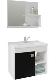 Gabinete Suspenso Para Banheiro Lótus 46X55Cm Branco E Preto