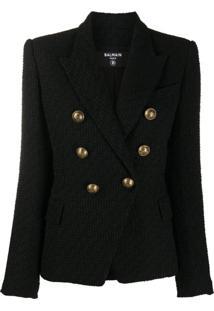 Balmain Blazer Com Abotoamento Duplo De Tweed - Preto