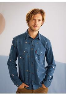 Camisa Manga Longa Flanela Estampada Uzai Azul Escuro
