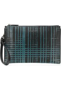 Z Zegna Abstract Print Leather Pouch - Preto