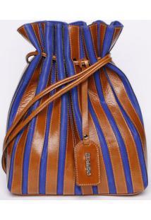 Bolsa Saco Com Pespontos - Azul & Marrom- 30X28X14Griffazzi