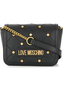 Love Moschino Bolsa Transversal Com Tachas E Placa De Logo - Preto
