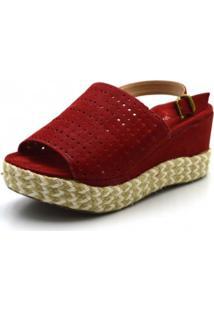 Sandália Flor Da Pele Flat Vermelha