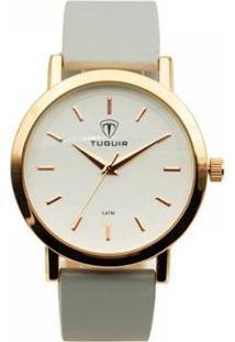 Relógio Tuguir Analógicol Feminino - Feminino-Dourado+Branco