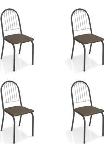 Conjunto Com 4 Cadeiras De Cozinha Noruega Preto E Marrom