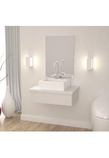 Conjunto Para Banheiro Gabinete 60Cm Cuba Q35 E Espelheira 601W Metrópole Compace Branco Chess