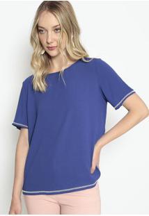 Blusa Lisa Com Bordado - Azul - Morena Rosamorena Rosa
