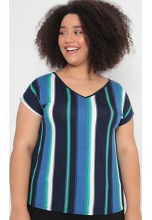 Blusa Listrada- Azul & Verde- Malweemalwee