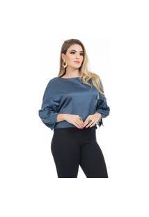Blusa Clara Arruda Cetim Cropped 20632 Azul Marinho
