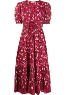 Ulla Johnson Vestido Zaria Com Estampa Floral - Vermelho