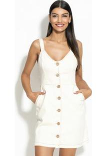 Vestido Curto Sarja Off White