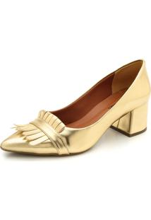 Scarpin Dafiti Shoes Franja Dourado