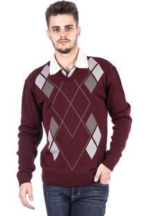Blusa Tricot Carlan Decote V Losango Masculina - Masculino-Bordô