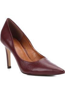 Scarpin Couro Shoestock Salto Alto Bico Fino - Feminino-Vinho