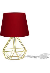 Abajur Diamante Dome Vermelho Com Aramado Dourado - Vermelho - Dafiti