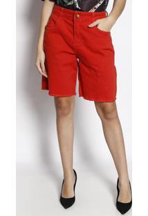 cd2545fc7 ... Bermuda Em Sarja Com Puídos- Vermelha- Maria Valentimorena Rosa