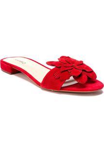 Sandália Rasteira Com Flor - Vermelhaamaro