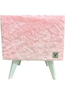 Puff Pã© Palito Quadrado Alce Couch Pelinho Pelãºcia Rosa 40Cm - Rosa - Dafiti