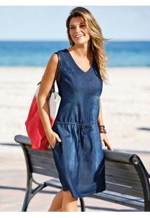 Vestido Jeans Azul Escuro Com Cordão De Ajuste