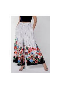 Calça Pantalona Wide Leg Em Viscose Estampada Sob Branca