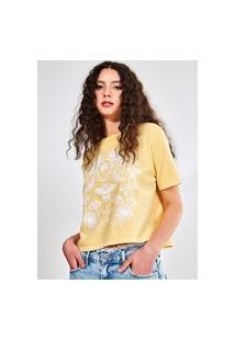 Camiseta Cropped Amarela Com Estampa
