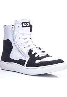 Tênis Masculino Rockfit Rush Em Couro Branco E Preto