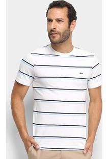 Camiseta Listrada Lacoste Masculina - Masculino-Branco