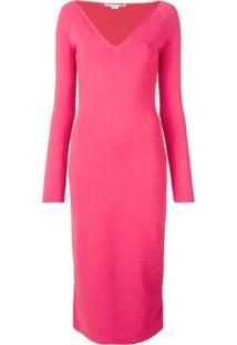 Stella Mccartney Vestido Slim Com Decote V - Rosa