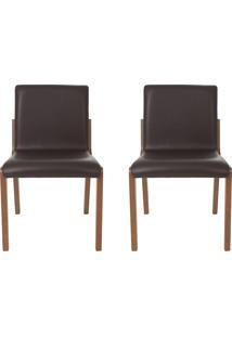 Conjunto De Cadeiras Angelina - 2 Peã§As - Couro Marrom