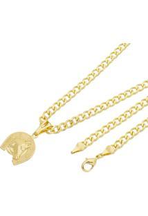 Pingente Cara De Cavalo Com Corrente Grumet Tudo Joias Folheado A Ouro 18K Dourada - Dourado - Dafiti