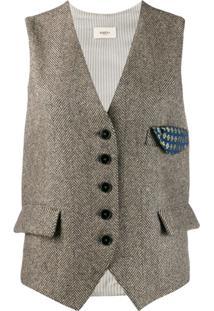 Barena Herringbone Button Waistcoat - Marrom