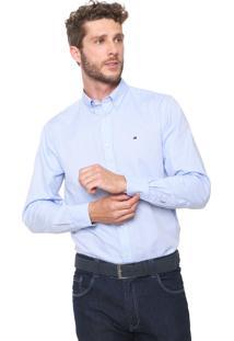 Camisa Tommy Hilfiger Reta Custom Azul