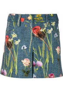 Boutique Moschino Bermuda De Algodão Com Estampa Floral - Azul
