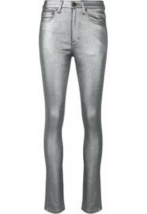 Saint Laurent Calça Jeans Skinny Metalizada - Prateado
