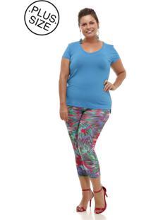 Blusa Melinde Plus Size Básica New Azul