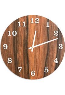 Relógio De Parede Premium Amadeirado Com Números Em Relevo Branco 50Cm Grande