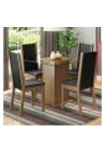 Conjunto Sala De Jantar Madesa Giulia Mesa Tampo De Vidro Com 4 Cadeiras - Rustic/Preto