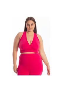 Top Suplex Viés Transpassado Feminino Vtm Costa Nadador Plus Size Fitness Academia - Pink