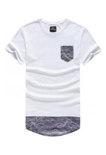 Camiseta Masculina Longline Com Bolso - Branco E Cinza