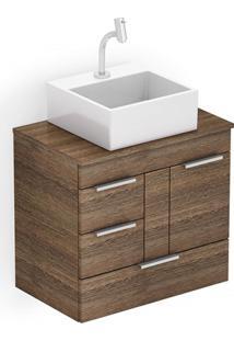 Gabinete Para Banheiro Em Mdf Com Cuba Quadrada Basic 60X38Cm Wengué