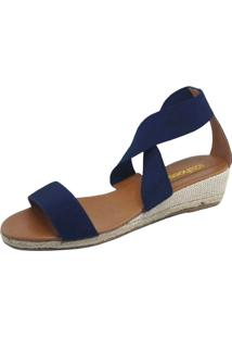 Sandália Anabela S2 Shoes Elástico Azul-Marinho