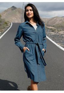 Vestido Jeans Chemise Com Faixa Azul Médio