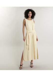 Vestido Feminino Longo Mindset Com Fenda E Amarração Amarelo Claro