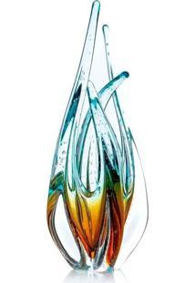 Escultura De Murano Sáo Marcos - Cristal Azul Com Âmbar 33Cm - Tricae