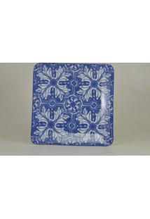 Bandeja Quadrada Porcelana Schmidt - Dec. Azuleijo