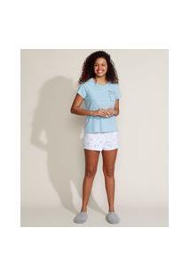 Pijama Feminino Cactos Manga Curta Azul Claro